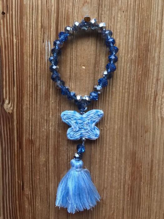 Bracelet Perles de Verre Diamant Bleu Papillon Vichy Bleu