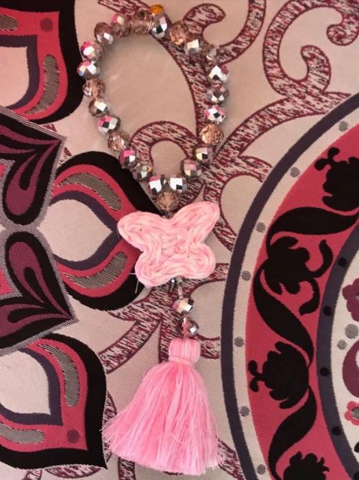 Bracelet Perles de Verre Diamant Rose Papillon Vichy Rose