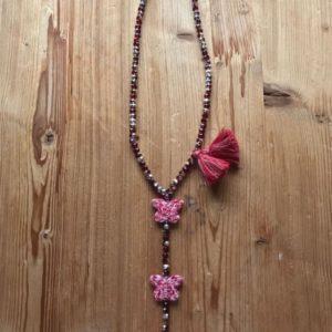 Chapelet Perles de Verre Diamant Rouge 2 Papillons Vichy Rouge