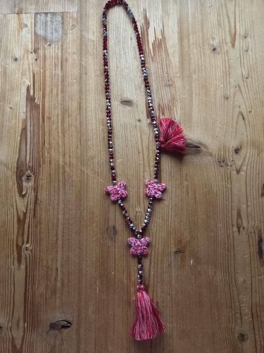 Sautoir Perles de Verre Diamant Rouge 3 Papillons Vichy Rouge