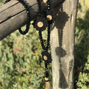 Sautoir black opale Daisy noire & chanvre