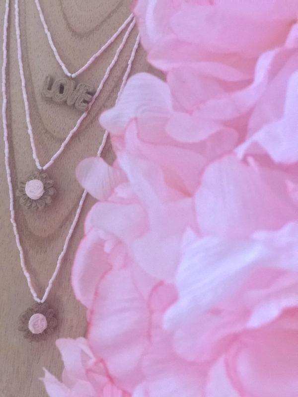 Little Pink Daisy set - perles de rocailles roses - Bijoux Bohème