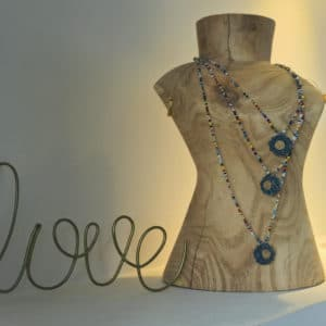 Little Daisy denim - perles de rocailles Multico - bijoux bohème