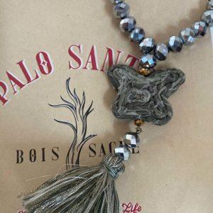 Bracelet perles de verre grey diamant papillon camouflage en tissu